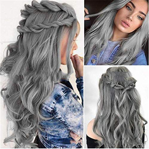 YUI Grau Ombre Curly Synthetik Perücken Silber Grau Lange Welle Haar Perücke zum Mädchen Frau Täglich Party Halloween 24