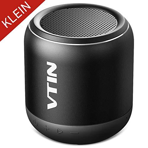 Mobiler Bluetooth Lautsprecher, Mini Musikbox mit IPX5 Wasserdicht VTIN Hotbeat Speaker mit 8 Stunden Spielzeit, 10M Bluetooth Reichweite,Tragbar Kabellos Lautsprecher für iPhone, Samsung (Schwarz)