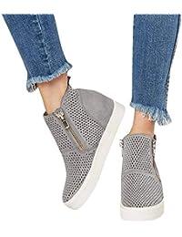 Sneakers Donna Zeppa Platform Stivaletti con Tacco Alte 5Cm Pelle Mocassini  Eleganti Scarpe da Ginnastica Estive 64153f4ab1e