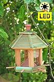 Futterhaus Vögel, ZedernHolz - MIT Beleuchtung,LED-Licht / Vogelhaus & Futterstation,wetterfest MEERESBLAU (ANTIKBLAU),BEL-türkis groß, PREMIUM Vogelhaus & Futterstation