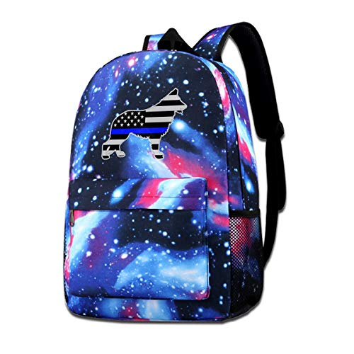German Shepard Silhouette K9 Blue Line American Flag Galaxy Casual Daypack - Unisex Backpack Shoulder Bag For School Travel - Shepard Stand