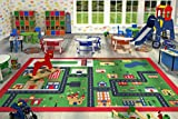 Kids Children Large Girls Boys Fun Rugs Green Town (100x133cm) City Playground Bedroom Playroom Floor Mat Non Slip Play Available in 2 Sizes