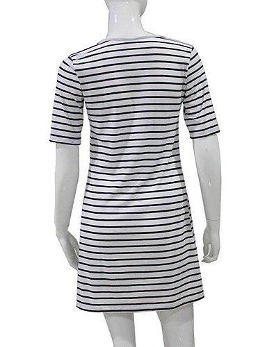 PU&PU Robe Aux femmes Gaine Simple / Street Chic,Rayé Col Arrondi Au dessus du genou Polyester WHITE-L