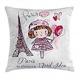 Abakuhaus Paris Kissenbezug, Herzen auf Eiffelturm, 40 x 40 cm, Beidseitiges Muster Klarer Digitaldruck Farbfes mit Verstäckten Reißverschluss, Hellrosa Lila Weiß