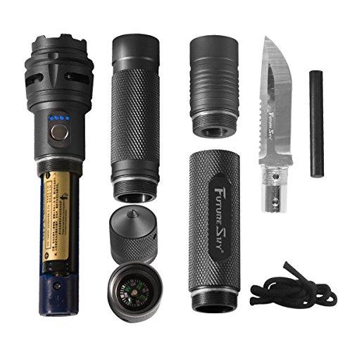 Wasserdicht 6-in-1 multi-funktionale taktische Taschenlampe Messer - Survival Ausrüstung Kit-Messer mit Wiederaufladbare Einstellbare Maglite Led Das display Taschenlampe für Fahrzeug Jagd Outdoor Camping