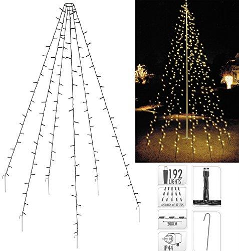 Fahnenmast Beleuchtung 6x 2 Meter - Lichterkette für Bäume Pavillions 192 LED IP44