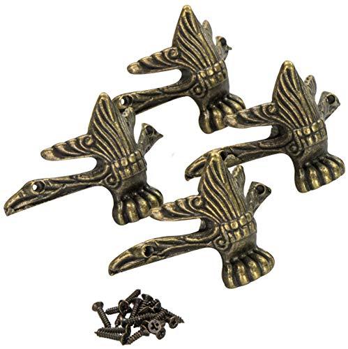 LAUBLUST Truhenfüße im 4er Set - Metall Messingfarben ca. 6 x 4 x 4 cm - Design Orientalisch - Deko Standfüße zum Verschönern von Holzkisten