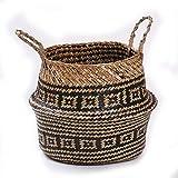 SUNXIN Seagrass cesta de cesteria de mimbre plegable colgante maceta de flores maceta sucia de lavanderia cesto de almacenamiento cesta decoracion para el hogar talla (27 X 23cm)