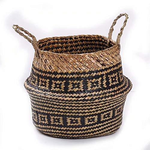 SUNXIN Seagrass cesta de cesteria de mimbre plegable colgante maceta de flores maceta sucia de lavanderia...