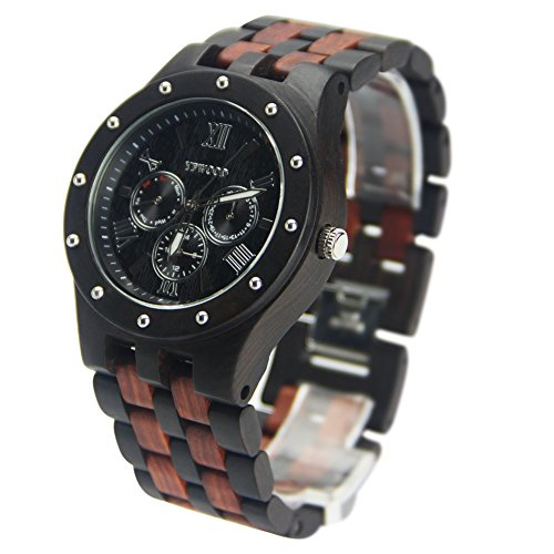 YFWOOD Herren Uhren yfwood natur Holz Armbanduhr Analog Quarzuhrwerk mit Erweiterte Funktionen und Funktionalität, Herren, Watch, YZS-11, Einheitsgröße