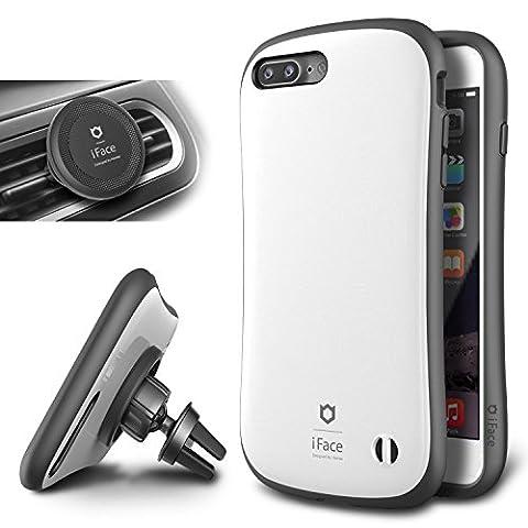 iPhone 7 Plus Hülle & Universal KFZ Lüftungsschlitz-Halterung (Winkel einstellbar ) iFace® [Duo] Schwerschutz [Gunmetal] Doppelte Schutzschicht & Extrem Hoher Fallschutz Schutzhülle für iPhone 7 Plus Case, iPhone 7 Plus Cover - Pearl White