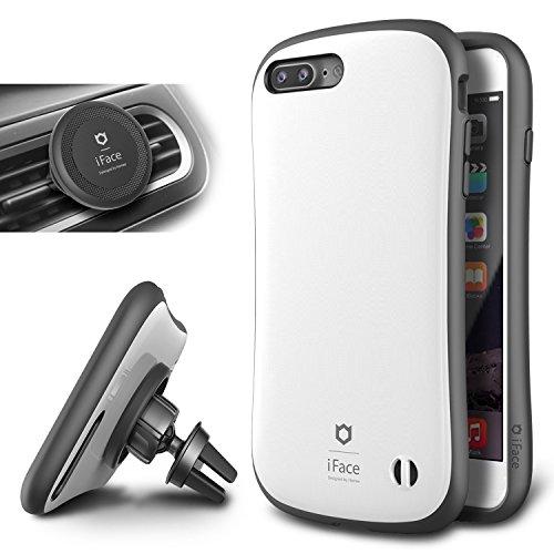 IPhone 7 Plus Case e Car Holder, caso duro iFace [Duo Series] 2in1 robusta protezione con Magnetic Air Vent Car Mount Kickstand per Apple iPhone 7 Plus (2016) - grigio canna di fucile Pearl White