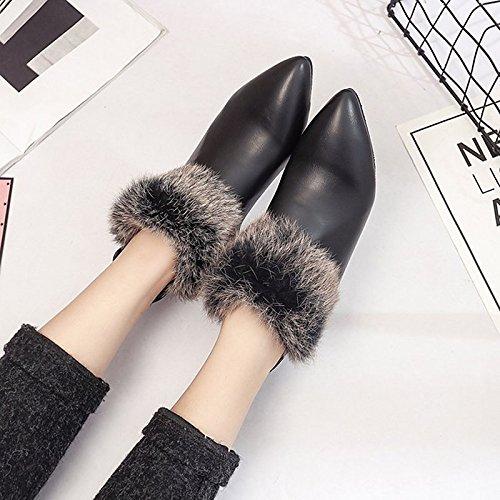 Zapatos Hsxz Para Mujer Pu Winter Fight Boots Botas Gruesas Con Cuentas De Punta Redonda Botas De Media Caña Para Casual Beige Marrón Negro Marrón