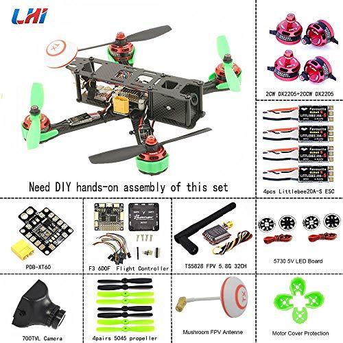 LHI 220mm Full Carbon Frame + DX2205 2300KV Brushless Motor + Littlebee 20A Regulator + Pro SP Racing F3 Flight Controller Acro + 5045 Propeller FPV Quadcopter ARF Kit