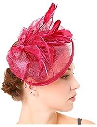 Yujeet Mujeres Transparente Elegante Flor Forma Sombreros Y Tocados Llanura  Tejer Pluma Novia Headwear Para La 6fc9b591e28