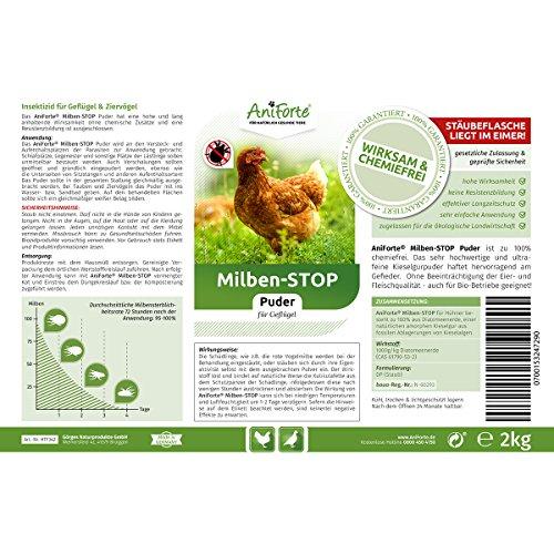 AniForte Milben-Stop Puder 2 kg inkl. Puderflasche – Naturprodukt für Hühner - 2