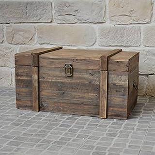 chemin_de_campagne Style Ancien Coffre Malle en Bois de Rangement 61x32x28 cm