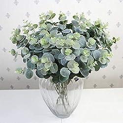 display08 Künstlicher Blumenstrauß aus Kunststoff, grüne Blätter, Eukalyptus, Home Office Decor Pflanze Multi