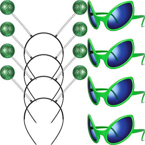 Alien Kostüm Themen - 4 Paare Alien Brille Raum Thema Lustig Brille mit Grün Farbe und 4 Stück Martian Antenne Stirnband Bopper Grün Antennen Stirnband für Cosplay Party Kostüm Zubehör