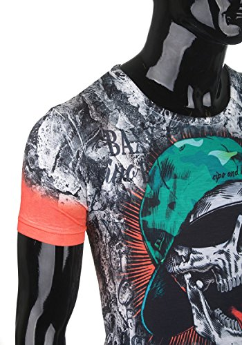 Cipo & Baxx Herren T-Shirt Print Eyecatcher CT346 neon orange-schwarzgrau