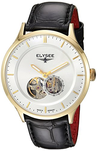 Elysee Nestor Mens Watch Gold with Black Leather Strap