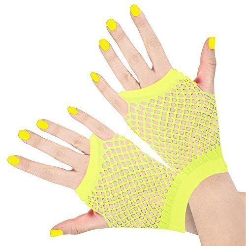 n Frauen Kurze Fischernetz Kostüm 1980er Neon Handschuhe - Einheitsgröße, Gelb ()