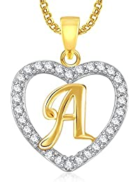 Meenaz Gold Plated Alphabet 'A' Letter Heart Pendant Locket With Chain For Men And Women PS396