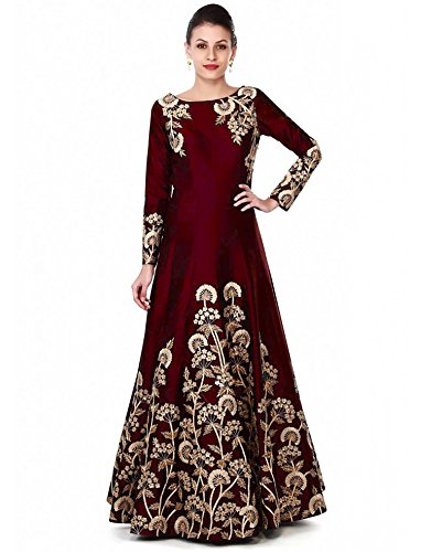 Siddeshwary Fab Women's Taffeta Silk Anarkali Gown(All Trilok Coding_Red_Free Size)