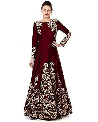 Siddeshwary Fab Women's Taffeta Silk Anarkali Gown(All Trilok Coding_Red_Free Size)