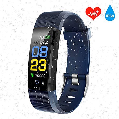aiguo cardiofrequenzimetro intelligente multifunzione bluetooth sports smartwatch,sportivo braccialetto fitness uomo,bambini contapassi,impermeabile ip68,donna activity tracker,android ios.(blue)
