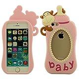 Schutzhülle Apple iPhone 5 5S Hülle Cover ( Pink ), Ultra Soft-Silikon Kreatives Design Niedlich Affe Babymilchflasche Gestalten Case Tasche für iPhone 5 5S iPhone SE