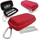 LOVE MY CASE / DURABLE Red MP3 Player Case, Hard Clamshell Case, Earphone Case, Holder with Metal Carabiner Clip for Apple iPod Nano 7th Generation with Love My Case Cleaning Cloth
