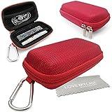 Stylebitz / Étui rigide pour MP3 + écouteurs, mousqueton en métal pour Apple iPod Nano 7è génération avec chiffon de nettoyage Stylebitz (rouge)