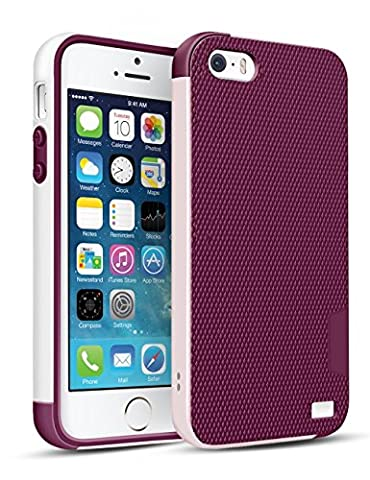 Coque iPhone SE/5/5S [Ultra Hybride]TPU Anti-Choc Robuste Durable Double Protection Panneau Anti-Dérapant Étui Pour iPhone SE/5/5S [Blanc/Rose]