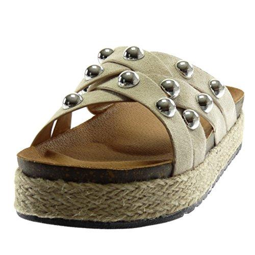 Angkorly Scarpe Moda Mules Sandali Slip-On Zeppe Donna Perla Borchiati Cinghie Incrociate Tacco Zeppa Piattaforma 4 cm Beige