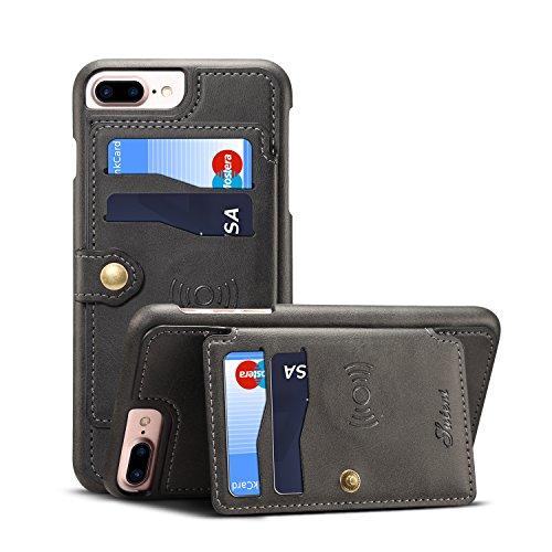 Leder-Schutzhülle für iPhone 6 + 7P 8 Plus Apple; Kartenfächer, Standfunktion, hochwertig, schlankes Design, weich, schwarz