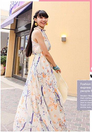 QIYUN.Z Boheme Manches Dos Nu Imprimee Petite Plage De Fente Tunique Maxi Robe a Fleurs Photo Color
