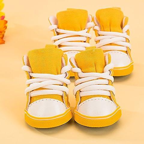 Scarpe arcobaleno piccolo cane scarpe per autunno e inverno barboncino bichon fris Océ cane pomerania scarpe scarpe pet estate traspirante Kit perno,gelato giallo 3,n. -M: peso di riferimento