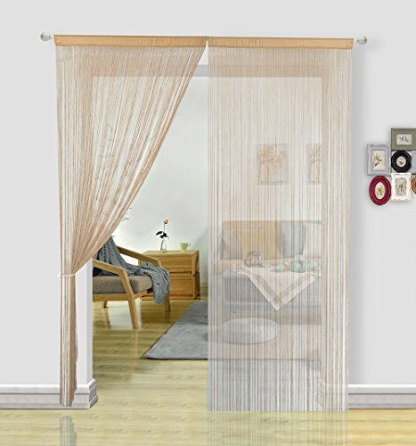 Hsylym - tenda-zanzariera per porte, ingressi, finestre e decorazione per la casa (90 x 245 cm), poliestere, beige, 90x245cm