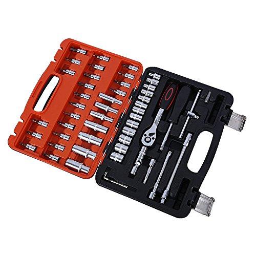 SODIAL Outils de reparation pour la voiture et le moto Outils de reparation Mecanique Kit de Reparation a domicile 53 Piece