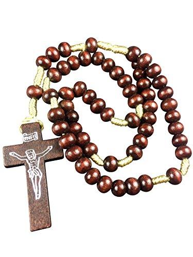 Motivationsgeschenke Rosenkranz geknüpft 30 cm Perle Rund Dunkel 3 mm, Holzkreuz Gebetskette Kruzifix