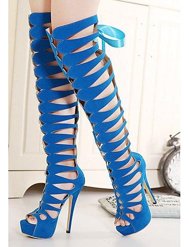 WSS 2016 Chaussures Femme-Décontracté-Noir / Bleu-Talon Aiguille-Talons-Chaussures à Talons-Laine synthétique black-us7.5 / eu38 / uk5.5 / cn38