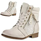 SCARPE VITA Damen Stiefeletten Boots Schnürstiefel Spitze Used Look Schuhe 160305 Creme Zipper 38