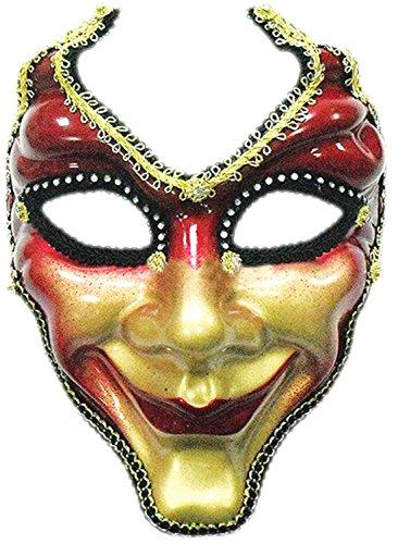 auen Herren Männer Venezianische Maske, Hofnarr, Kostümball, Rot-Gold (Rot Und Gold Fancy Maske)