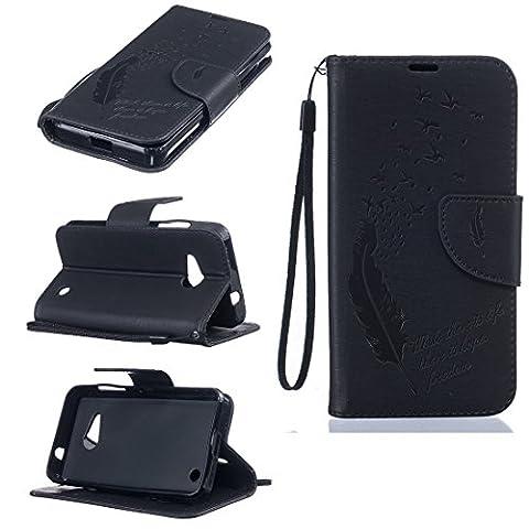 Chreey Coque Nokia Microsoft Lumia 550 / N550 (4.7 pouces) (Solid color - Plume - Avaler),PU Cuir Portefeuille Etui Housse Case Cover ,carte de crédit pour , serrures magnétiques, support pliable, idéal pour protéger votre téléphone