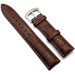 Conbays 20mm Brown Genuine Leather Stainless Steel Pin Buckle Watch Band Strap