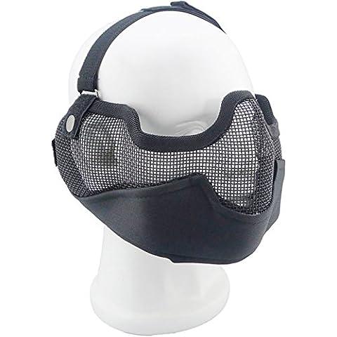Militare Airsoft Caccia mezza maschera paintball Halloween costume cosplay maschera Matrix ferro viso acciaio al carbonio