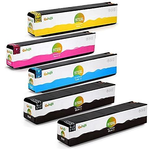 Gohepi 970XL/971XL Kompatibel für Druckerpatronen HP 970XL 971XL, 2 Schwarz/Blau/Rot/Gelb 5er-Pack Arbeit mit HP Officejet Pro X576dw X451dw X476dw X551dw X451dn X476dn Patronen