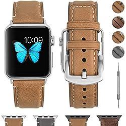 Fullmosa Bracelet Compatible avec Apple Watch 38mm 40mm 42mm 44mm, YOLA Bracelet en Cuir pour iWatch Série 5/4/3/2/1, Nike +, Edition, Sport, 38mm Brun Clair + Quincaillerie Argenté
