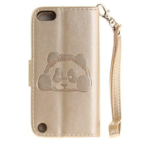 Qiaogle Téléphone Coque - PU Cuir rabat Wallet Housse Case pour Apple iPhone 5 / 5G / 5S / 5SE (4.0 Pouce) - TX34 / Cute Panda TX53 / D'or Classique affaires Style + Panda
